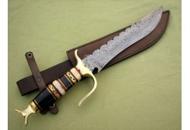 Carbon Steel Damascus Bowie Knife